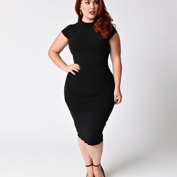 Unique Vintage Plus Size 1960s Black Stretch Knit Cap Sleeve Holly Wiggle Dress