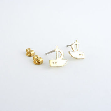 Tiny boat earrings | Gold stud earrings, Nautical jewelry, Sterling silver posts