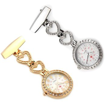 2017 New Heart Nurses Watches Doctor portable Clip-on Pocket Fob Watch Tunic Batteries Medical Nurse Rhinestone Quartz Watch