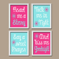 Read Me A Story Hot Pink Aqua Nursery Wall Art Baby Girl Nursery Girl Bedroom Wall Art CANVAS or Prints Girl Nursery Girl Wall Art Set of 4