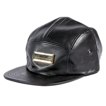 Just Hype Black Faux Leather Strapback