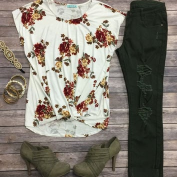 Floral Knotted Top: Ivory