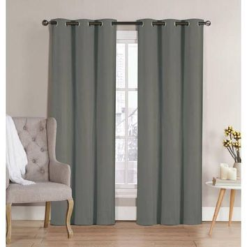 "96"" Grommet Curtain Panels Pair Gray"