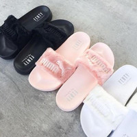 "Stylish ""PUMA"" Rihanna Fenty Leadcat Fur Slipper Shoes"