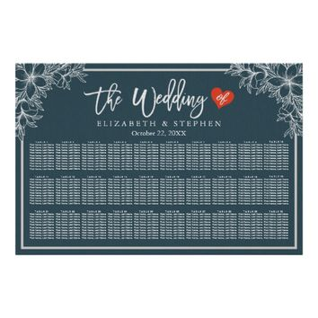 30+ Tables Blue White Floral Wedding Seating Chart Poster