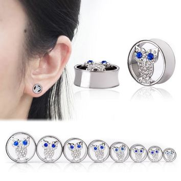 ac DCCKO2Q Ear Expander Body Piercing Jewelry 1 Pair Stainless Steel Hollow Crystal Owl Flare Flesh Tunnel Ear Plugs 10-25mm Ear Stretcher
