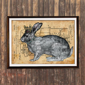 Rabbit poster Steampunk print Animal print Patent decor SOL92