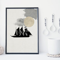 Black boat art print, marine art print, zen, nautical illustration, boy's room, home wall decor, apartment wall art, nursery decor, minimal