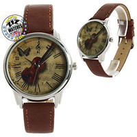 Vintage Violin Womens Ladies Quartz Analog Wrist Watch 38mm Anniversary Gifts