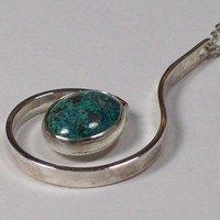 Sterling Silver and Chrysocolla Hand-crafted Pendant