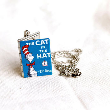 Cat in the Hat Necklace - Book Locket, Dr. Seuss