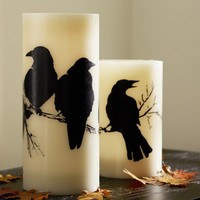 Flameless Raven Pillar Candle