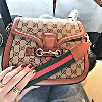 Gucci New Fashion Women More Letter Leather Shoulder Bag Crossbody Satchel