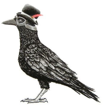 Crow Wearing a Bowler Hat and Bomber Goggles Print