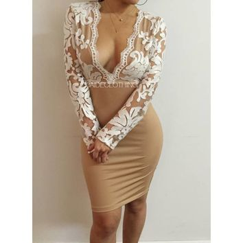 JAIDE EXCLUSIVE Laced in White Deep V Dress - Jaide Clothing