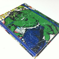 Hulk & Thor Vintage Comic Book Covers Fabric Journal Notebook -  Handmade - Coptic Stitched