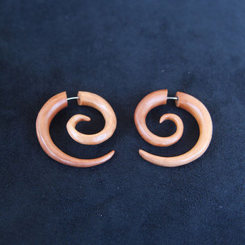 Spiral Earrings - Plain Light Brown Fake Gauge Wood Medium Size Tribal Earring made of Saba Wood