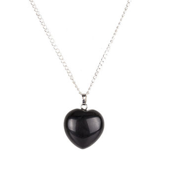 Black obsidian Heart Point Necklace Crystal Stone Silver 18inch Link chain Power Healing Chakra Reiki Fashion Jewelry Free Pouch