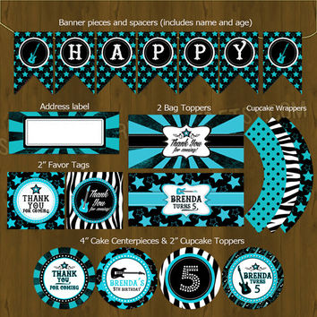 Rockstar Turquoise Printable Birthday Party Package - Rock Star Complete Birthday Set - Invitation, cupcake toppers, banner etc