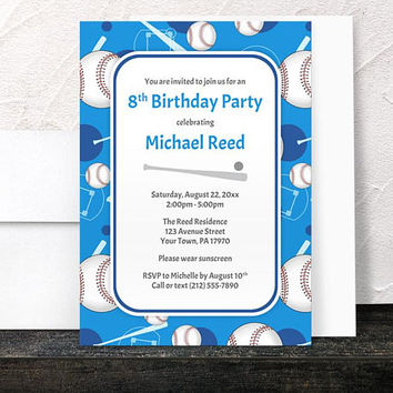 Blue Baseball Birthday Party Invitations - Sports themed pattern with Baseballs Bats and Baseball Diamonds - Printed Invitations