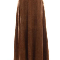 Retro Suede Brown Maxi Skirt