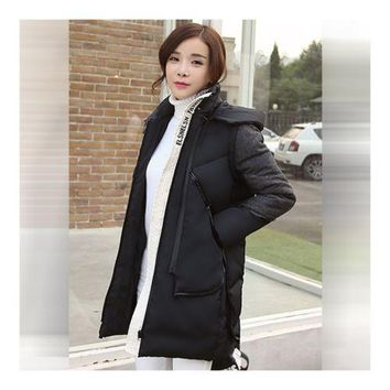 Woman Winter Thick Warm Middle Long Down Coat   black