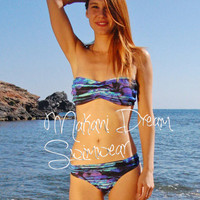 Brazilian Thong Bikini Bottom TARIFA in Ocean, by MAKANI DREAM Swimwear