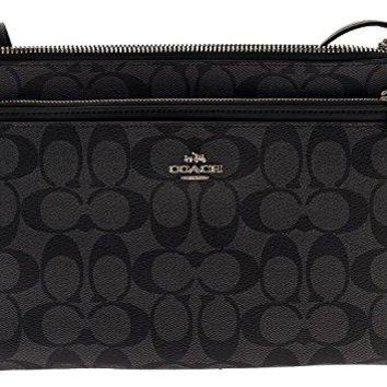 467a143af5ae Coach Signature East West Crossbody with Pop-up Pouch in Black S