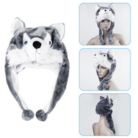 1pcs handmade Animal style Soft Cartoon Wolf Cute Fluffy Plush kids Hat Cap
