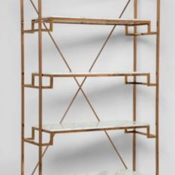 Art Deco Rose Gold And Marble Shelving Unit
