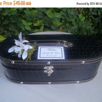 ON SALE Wedding Card Box / Black Wedding Wish memory Box / Bridal Shower Advice Box