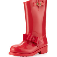 RED Valentino Bow Rubber Mid-Calf Rain Boot, Red