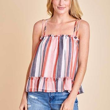 Jack Walk The line Sailing Stripe Printed Double Strap Tank