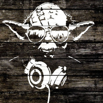 Star Wars Print Yoda Sunglasses Headphones 40x60cm Wood Graffiti Poster OP003342 - Canvas Print Home Decor poster