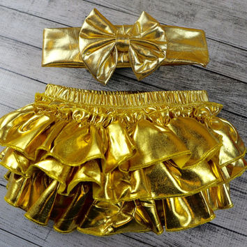 Gold Ruffle Bloomers Headband Set ,Diaper Cover, Ruffle Bum Baby Bloomer, Gold Tutu Bloomers Set , Gold Girls Birthday