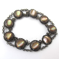 Antique Sterling Brown Lipped Shell Bracelet, Iridescent Carved Shell Cabochon Bead, Art Deco Sterling Paua Shell Mother Of Pearl Jewelry