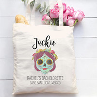 Cabo Bachelorette Party Totes - Wedding Welcome Bags, Bridesmaid Gift, Mexico Bachelorette, Day of the Dead Bachelorette Tote, Sugar Skull
