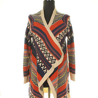 Ethnic Print Multi-Color Cozy Knit Cardigan Oversized Serape Pattern Perfect For Fall Christmas Gift For Her Warm Feel Gifts Under 50 Boho