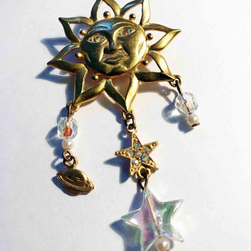 Vintage Gold Tone Astrology Sun Pin / Smiling Sunshine Brooch with Celestial Charms / Sun with Dangling Planet Saturn, Stars and Clear Beads