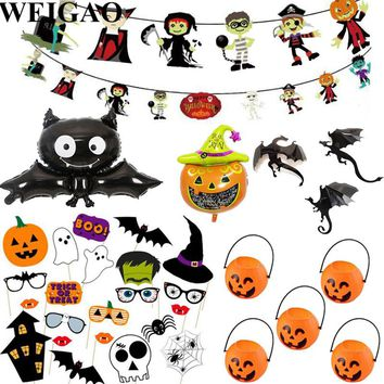 WEIGAO Happy Halloween Props Bunting Flags Kids Halloween Party Decoration Pumpkins Bat Foil Balloons Paper Garlands Home Decor