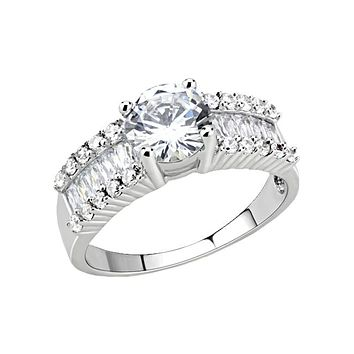 Fiona - Women's Rhodium Plated Clear CZ Ring