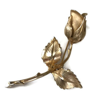 Vintage Gold Rose Pin Giovanni Costume Jewelry Brooch Long Stem Rose