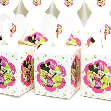 12pcs/lot Paper Candy Boxes Disney Minnie Mickey Mouse Theme Gift Box Kids Birthday Party Family Party Boxes Decoration Supplies
