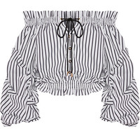 Caroline Constas - Lorena off-the-shoulder striped cotton-poplin top