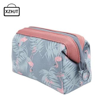Cartoon Flamingo Cosmetic Bag Women Function Travel Trunk Makeup Bag  Zipper Make Up Organizer Storage Pouch Toiletry Kit Box