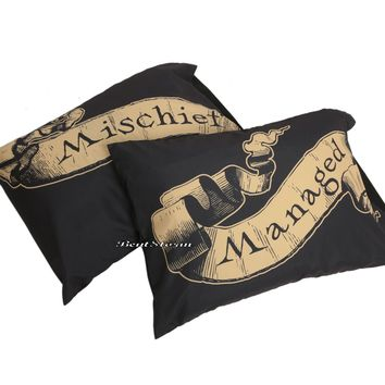Licensed cool Harry Potter Deathly Hallow Mischief Managed 2 Pack Set Pillow Case Pillowcase