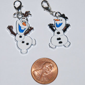 Disney Frozen Olaf Enamel Clip Charms, zipper pull, backpack, cell phone, purse clip, bracelet, necklace or scrapbooking.