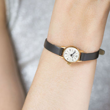 Very small woman watch Dawn, micro watch gold plated, rare watch feminine gift, classic lady watch, petite watch, premium leather strap new