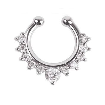 ES165 Crystal Piercing Nose Ring Hoop For Women Clip Body Jewelry Studs European & American Sexy