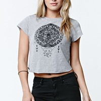 LA Hearts Triangle Henna Cropped T-Shirt - Womens Tee - Grey